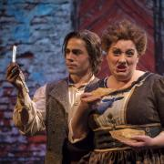 """Skyler Schlenker, left, and Erin Hodgson pose for a publicity still for the CU Opera production of """"Sweeney Todd."""""""