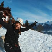 Student snowboarding in Switzerland during study abroad trip