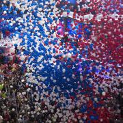 The baloon drop at the DNC convention 2016