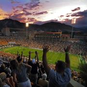 CU fans cheer on the Buffs during sunset football game