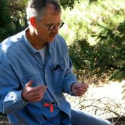Professor Thomas T. Veblen performing research in forest