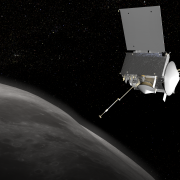 An illustration depicts the OSIRIS-REx craft near the Bennu asteroid.