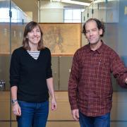 Tim Hogan and Dina Clark at the Museum of Natural History herbarium