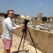 Doctoral candidate Tim Passmore taking photos in Beirut
