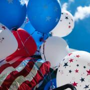 Red, white and blue balloons for Fourth of July