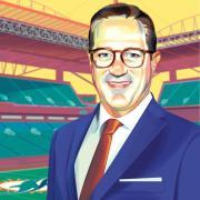 Illustration of Tom Garfinkel at Miami Dolphins stadium