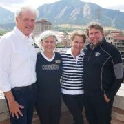 Lee Snyder, Char Snyder, Teri Trafton and Charlie Trafton at Folsom Field, where their story began