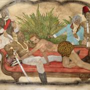 Painting by Frohawk Two Feathers illustrates modern culture in a historical portrait style