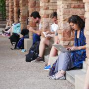 Students studying outside of the UMC
