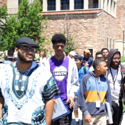 students participating in the boys2MEN leadership summit on the CU Boulder campus.