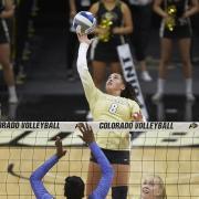 CU volleyball in action against Illinois. (Photo: Tim Benko/Benko Photographics)