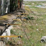Seismic measurement equipment set up on a wall in Turkey