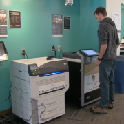 Student printing at Wepa printing station