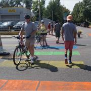 Colorful crosswalk at W Colfax Avenue