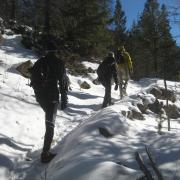 People hiking in the snow