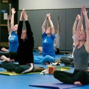 Students in yoga class at the Rec Center