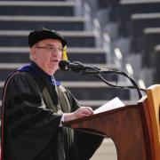 Chancellor Philip DiStefano congratulates the class of 2018 and offers remarks. Photo by Patrick Campbell.