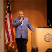 Dr. Christopher Bell delivers the keynote address for the 2019 Fall Diversity Summit. (Photo by Glenn Asakawa/University of Colorado)