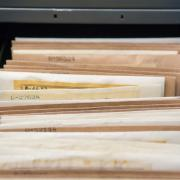 A file drawer at the herbarium