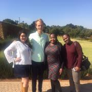Senior Connie Hernandez and sophomore Jack Schutz with fellow Africa Institute of South Africa (AISA) interns