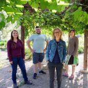 Undergraduate researcher Eva Coringrato, Program Coordinator Angel Villalobos, Professor Jill Litt and research assistant Erin Decker