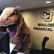 Chase Gordanier as a T-rex for this year's Halloween festivities.