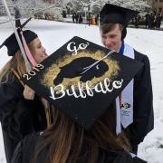 Graduates convene before commencement procession