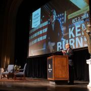 Chancellor DiStefano introduces Ken Burns; photo by Glenn Asakawa