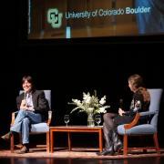 Ken Burns speaks with moderator Patty Limerick; photo by Glenn Asakawa
