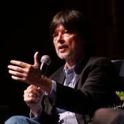 Ken Burns speaks at Macky Auditorium; photo by Glenn Asakawa