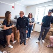 Chancellor DiStefano chats with students during move-in.