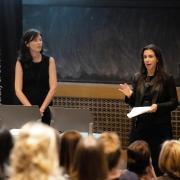 NYT reporters Megan Twohey, left, and Jodi Kantor, right, speak at MATH 100 during their visit to the CU Boulder campus on Monday, Oct. 21. (Photo by Patrick Wine/University of Colorado)