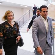 Ricardo Rossello, governor of Puerto Rico, visits with Assistant Vice Chancellor Kirsten Schuchman on campus, photo by Casey A. Cass