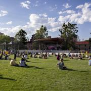 Students watch band at Farrand Field during Welcomefest 2016