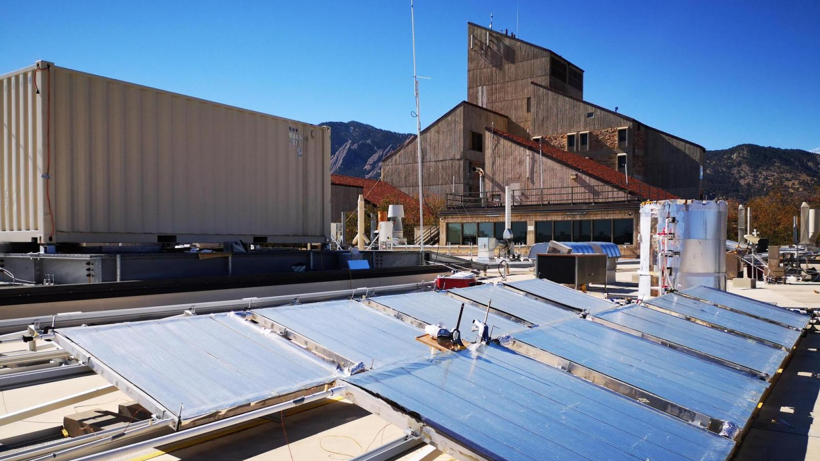 An array of radiative cooling modules on the CU Boulder campus.