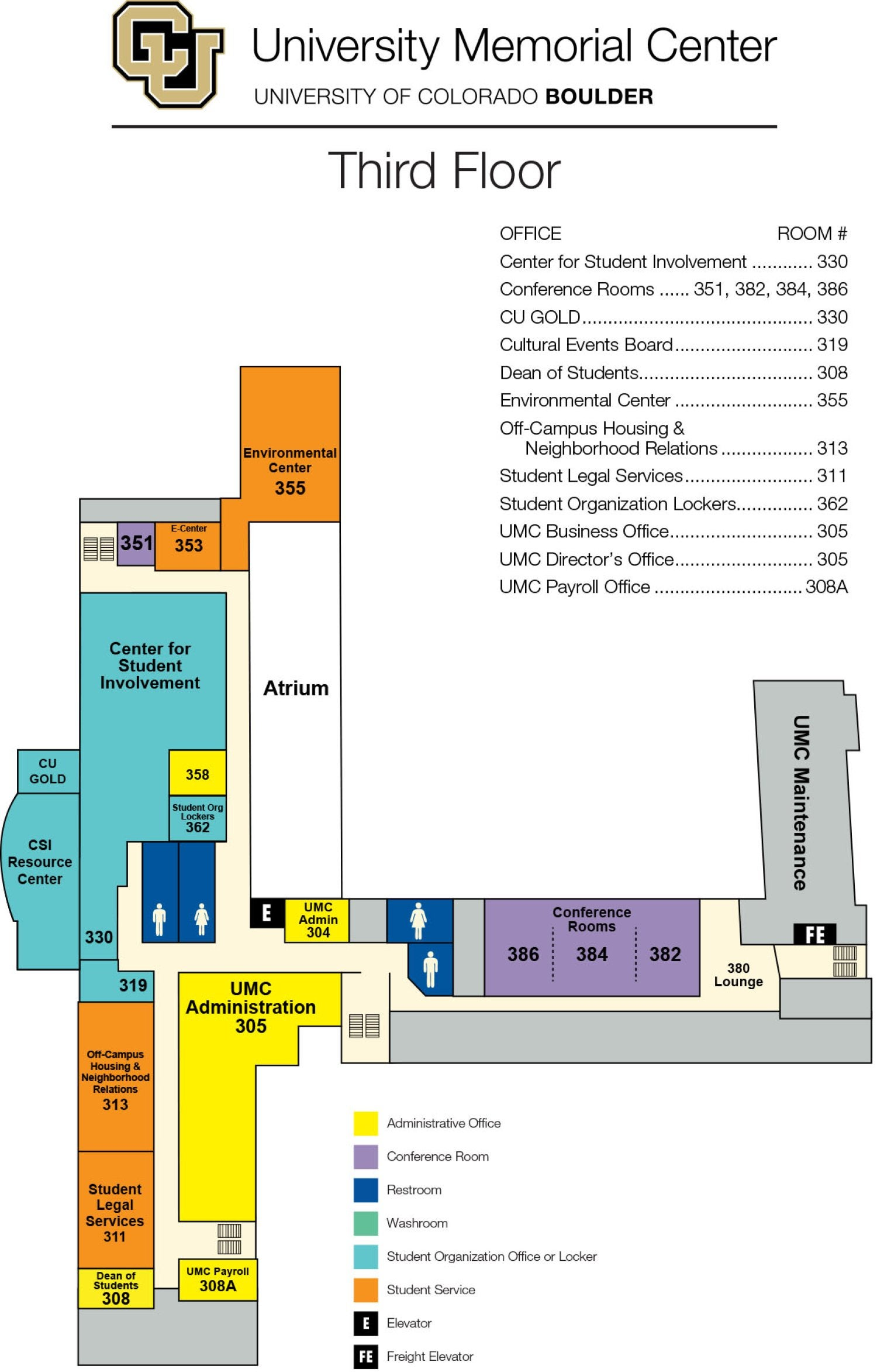 UMC third floor map showing Director's Office, Center for Student Involvement, Environmental Center, Off-Campus Housing and Student Legal Services, meeting rooms and student group offices.