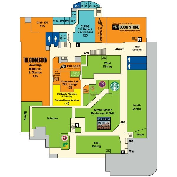 UMC first floor map showing locations of the food vendors, The Connection bowling center, CU Book Store, Elevations Credit Union, the Ink Spot copy center and more!