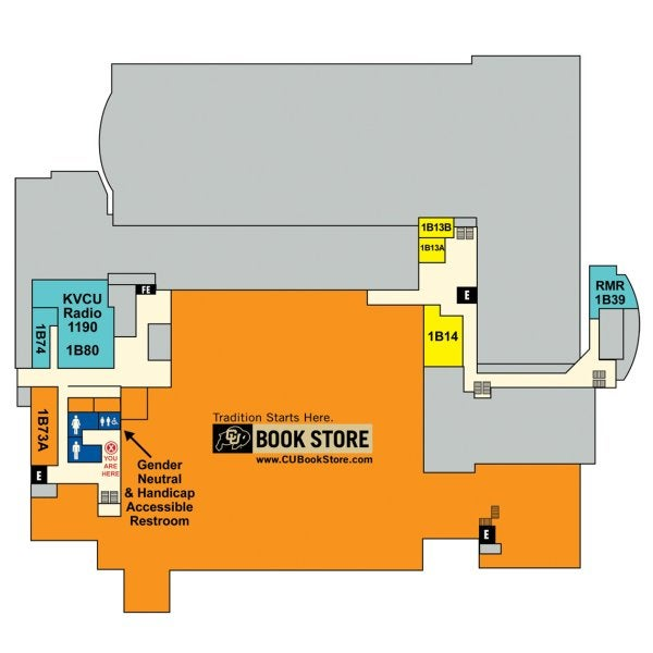 UMC Basement map showing locations of the CU Book Store, radio station and student group offices.