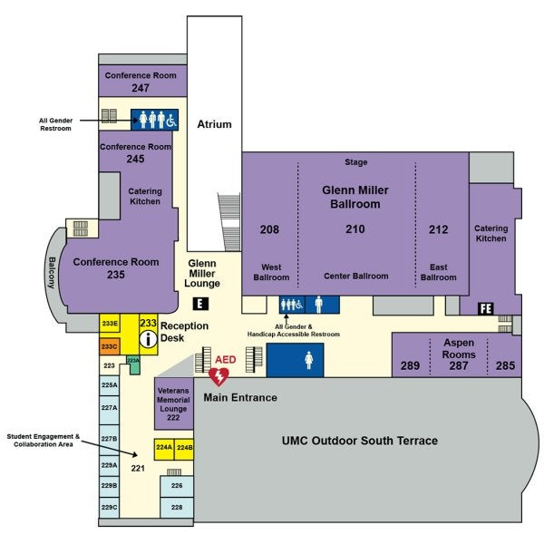 UMC second floor map showing locations of the Glenn Miller Ballroom, Reception Desk, Aspen Rooms, Veterans Lounge, Student Engagement & Collaboration Area and conference rooms.