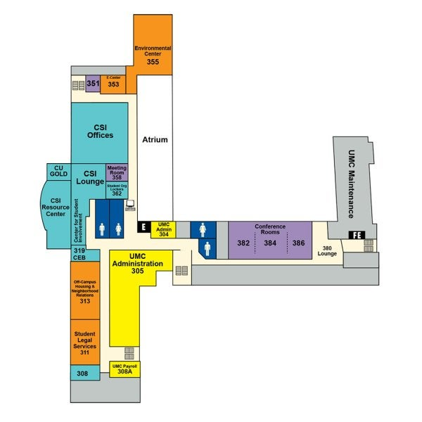 UMC third floor map showing locations of administrative offices, Center for Student Involvement, Environmental Center, Off-Campus Housing, Student Legal Services, meeting rooms and student group offices.