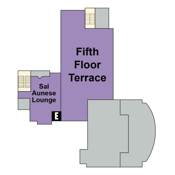 UMC fifth floor map showing locations of the Sal Aunese Lounge and the Fifth Floor Terrace.