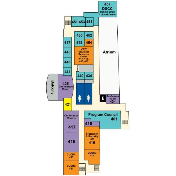 UMC fourth floor map showing locations of Program Council, DSCC, Women's Resource Center, meeting rooms and student group offices.