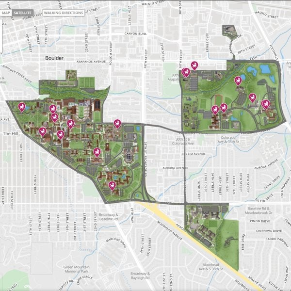 Map showing locations of lactation rooms across CU Boulder main and east campus.