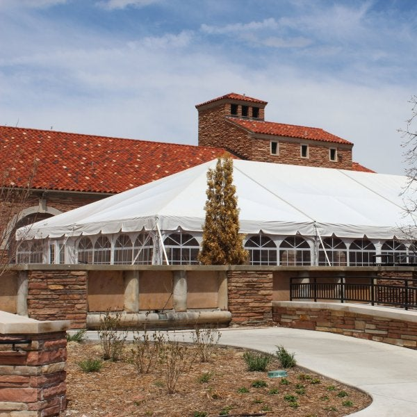 The tent on the south terrace of the UMC
