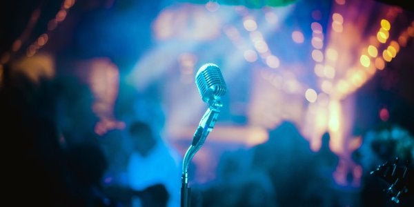 Microphone in front of a colorful background