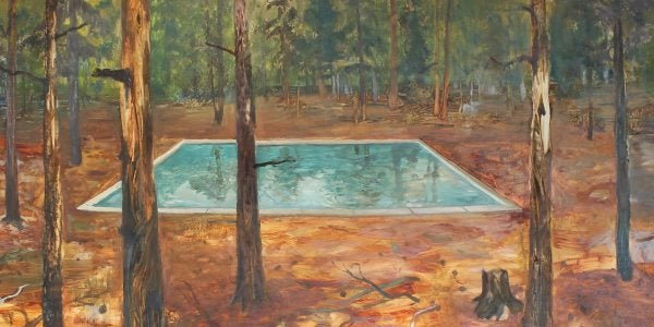 """A painting titled """"A Swimming Pool in the Woods (Roosevelt N.F.)"""" by John Defeo"""