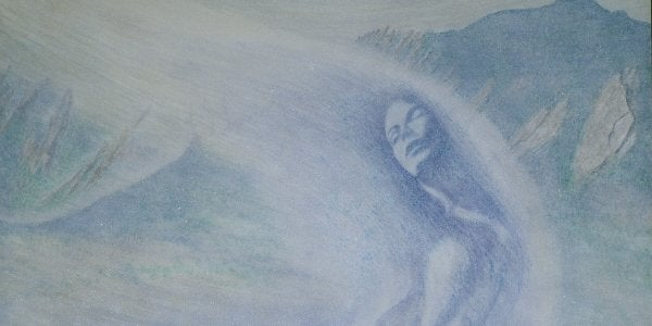 """A painting titled """"Snow Goddess"""" by Jerry Jaramillo"""
