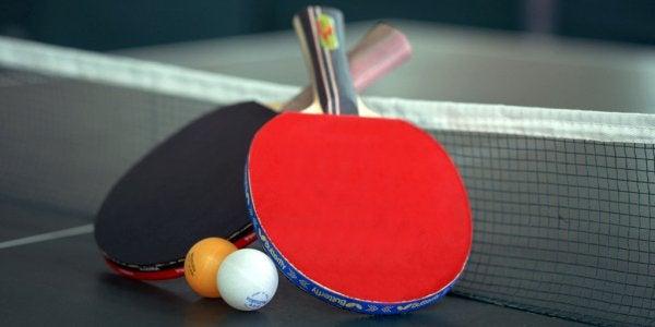 Ping pong paddle and balls