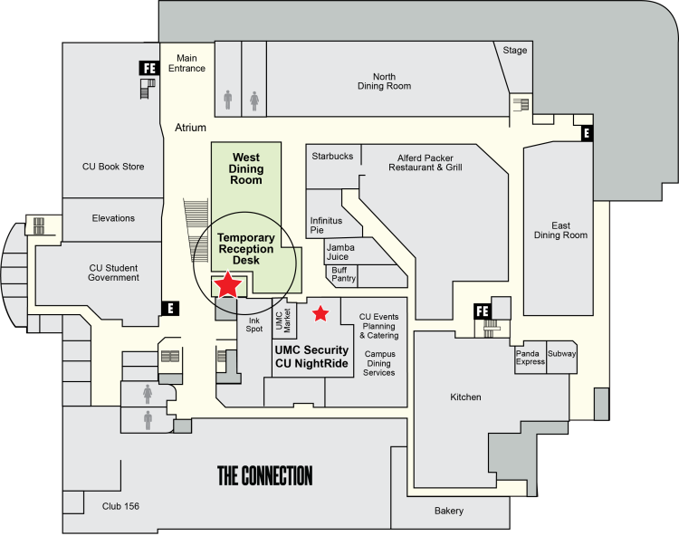 Map to the temporary location of the reception desk