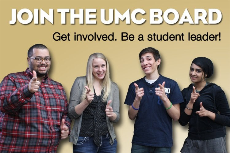 Student UMC Board members with thumbs up to join the board.